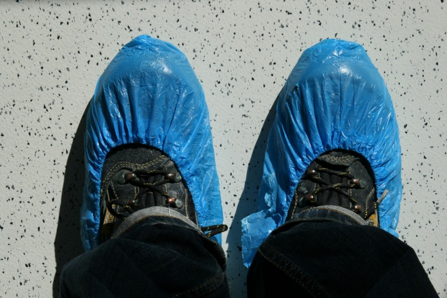 Blue plastic slippers